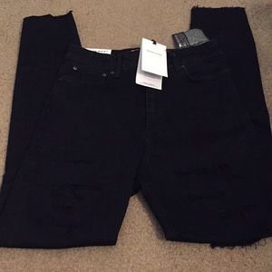 Zara Jeans - High waist Zara distressed skinny black jeans NWT